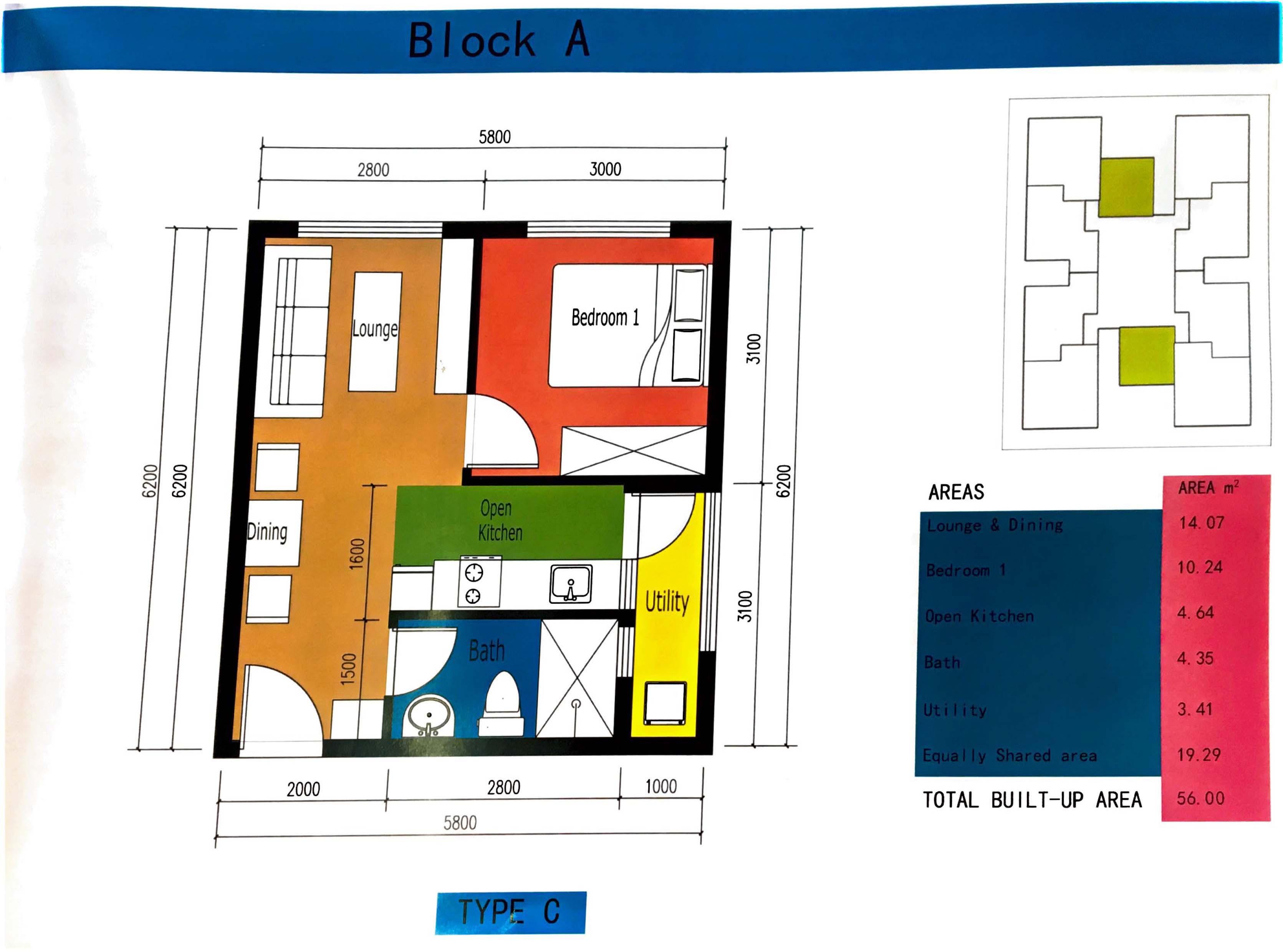 TYPE C 1 BEDROOM FLOOR PLAN