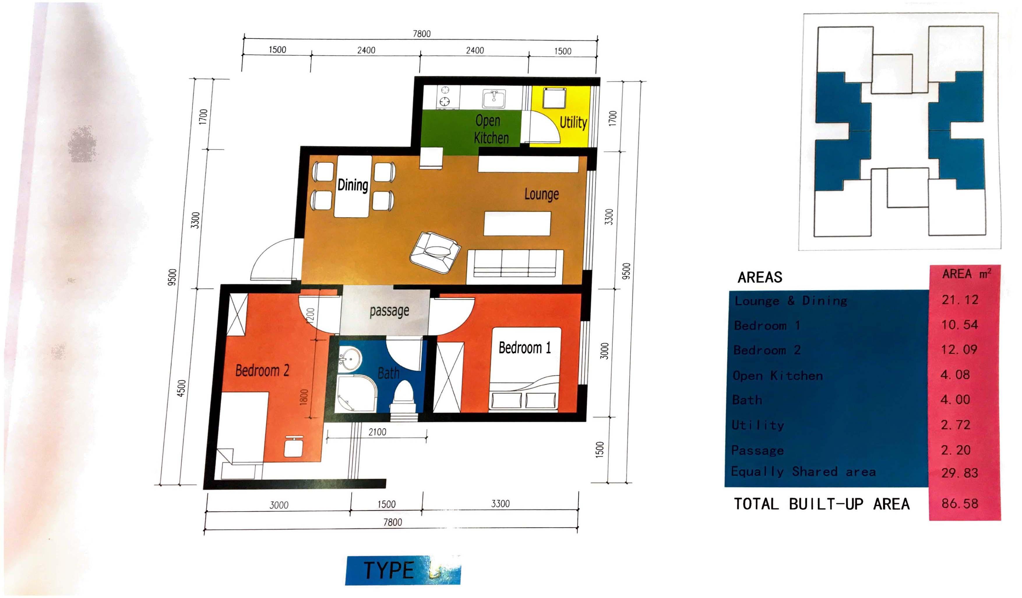 TYPE B 2 BEDROOM FLOOR PLAN